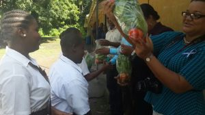 Presentation of produce to our visitors from the ministry.